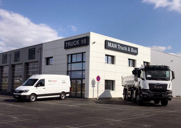Les bâtiments flambants neufs de Truck 16, le nouveau point service MAN en Charente.